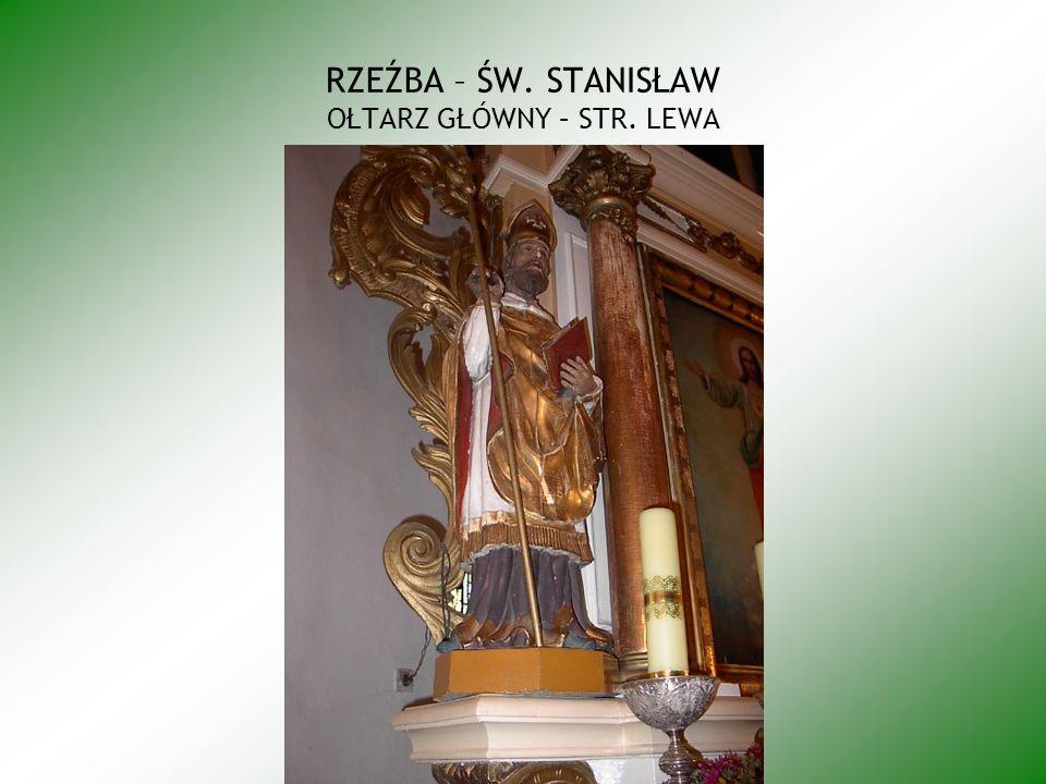 Kompozycja obrazu zawarta w stojącym prostokącie o proporcjach zbliżonych do kwadratu; scena trójpostaciowa i otwarta, na pierwszym planie postać zakonnika w białym, habicie i czarnym płaszczu, klęczy zwrócony na lewo w kierunku Madonny, głowa zakonnika ukazana z profilu okolona złotym nimbem; ręce uniesione do góry, wyciągnięte w kierunku Jezusa, w dłoniach drewniany różaniec, który jedną ręką podtrzymuje Dzieciątko, ubrane jest ono w białą drapowana szatę sięgającą kolan i okrywające lewe ramię; stojącego Jezusa podtrzymuje lewą ręką M.