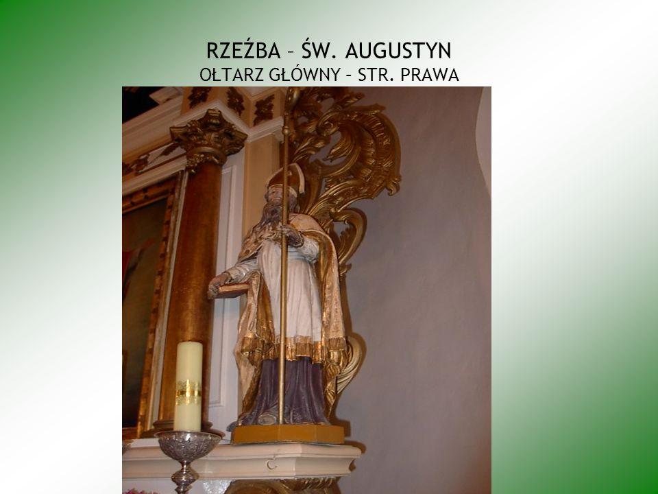 Kompozycja obrazu zawarta w prostokącie stojącym; przedstawia Matkę Boską w półpostaci w zwrocie ¾ na lewo, z głową lekko uniesioną zwróconą na prawo; twarz owalna o delikatnych, dziewczęcych rysach, wzrok skierowany w górę, włosy jasnobrązowe, długie, opadające na ramiona z przedziałkiem, ręce ugięte w łokciach, dłonie skrzyżowane na piersi podtrzymują błękitną chustę, szaty wierzchnie w tonacji rozbielanych szarości, z długimi szerokimi rękawami suknia spodnia biała też z białymi rękawami, u dołu, w poprzek postaci leży żółty, cienki sierp księżyca, wokół głowy świetlista aureola wyodrębniona rozjaśnieniem z ugrowego tła; p obu stronach w rogach po trzy głowy aniołków ze skrzydełkami okrągłych dziecięcych buziach i fryzurach z charakterystycznym lokiem na czole, wzrok ich skierowany na Madonnę.