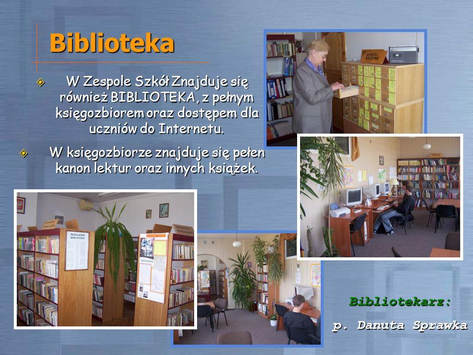 Biblioteka W Zespole Szkół Znajduje się również BIBLIOTEKA, z pełnym księgozbiorem oraz dostępem dla uczniów do Internetu. W Zespole Szkół Znajduje si