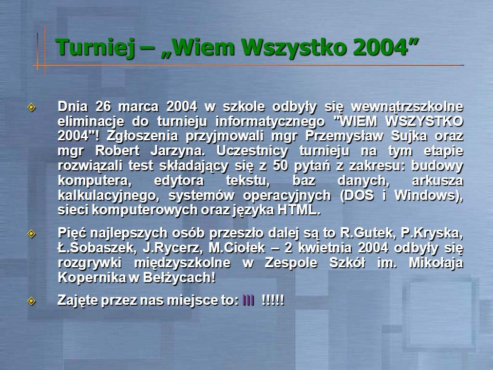 Turniej – Wiem Wszystko 2004 Dnia 26 marca 2004 w szkole odbyły się wewnątrzszkolne eliminacje do turnieju informatycznego