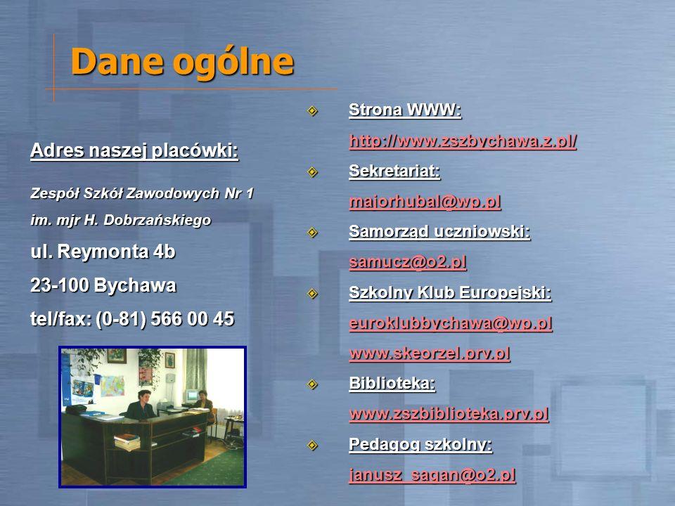 Dane ogólne Adres naszej placówki: Zespół Szkół Zawodowych Nr 1 im. mjr H. Dobrzańskiego ul. Reymonta 4b 23-100 Bychawa tel/fax: (0-81) 566 00 45 Stro
