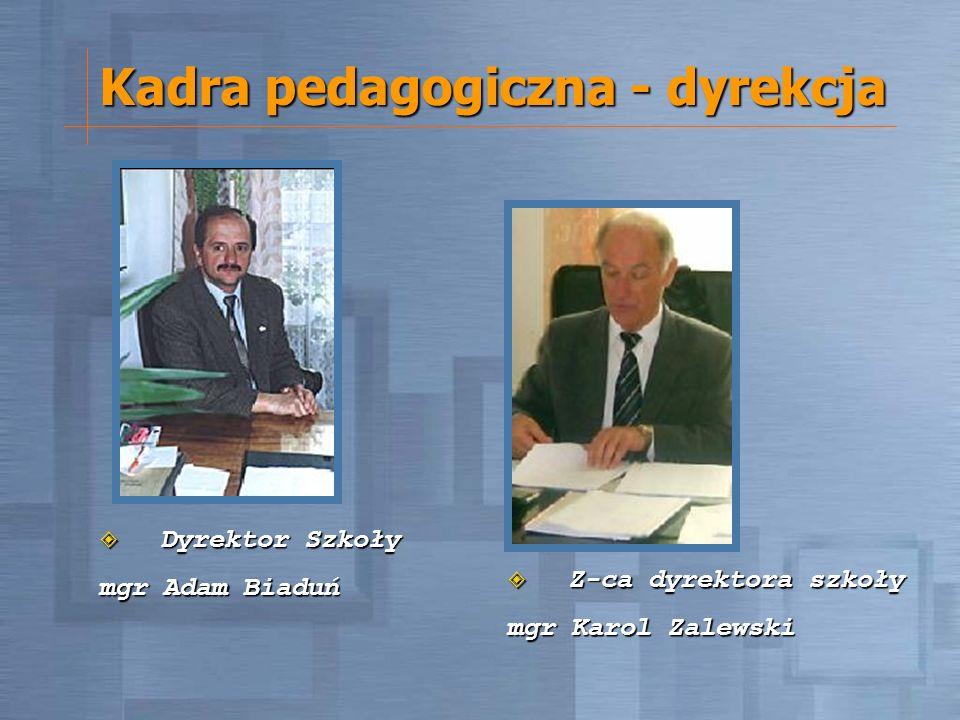 Kadra pedagogiczna - dyrekcja Dyrektor Szkoły Dyrektor Szkoły mgr Adam Biaduń Z-ca dyrektora szkoły Z-ca dyrektora szkoły mgr Karol Zalewski