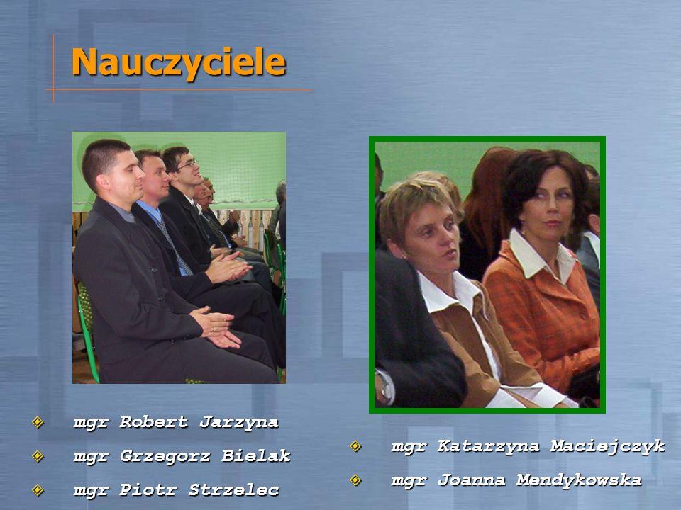 Nauczyciele mgr Robert Jarzyna mgr Robert Jarzyna mgr Grzegorz Bielak mgr Grzegorz Bielak mgr Piotr Strzelec mgr Piotr Strzelec mgr Katarzyna Maciejcz