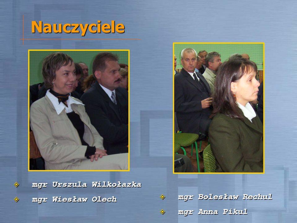 Nauczyciele mgr Urszula Wilkołazka mgr Urszula Wilkołazka mgr Wiesław Olech mgr Wiesław Olech mgr Bolesław Rechul mgr Bolesław Rechul mgr Anna Pikul m