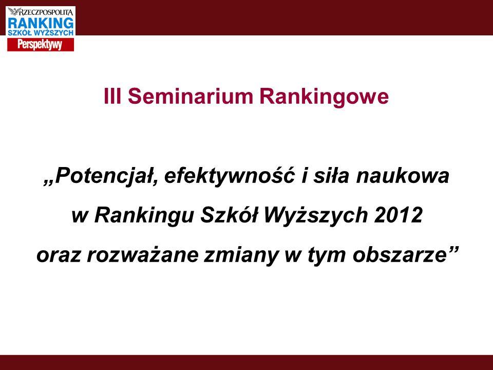 III Seminarium Rankingowe Potencjał, efektywność i siła naukowa w Rankingu Szkół Wyższych 2012 oraz rozważane zmiany w tym obszarze