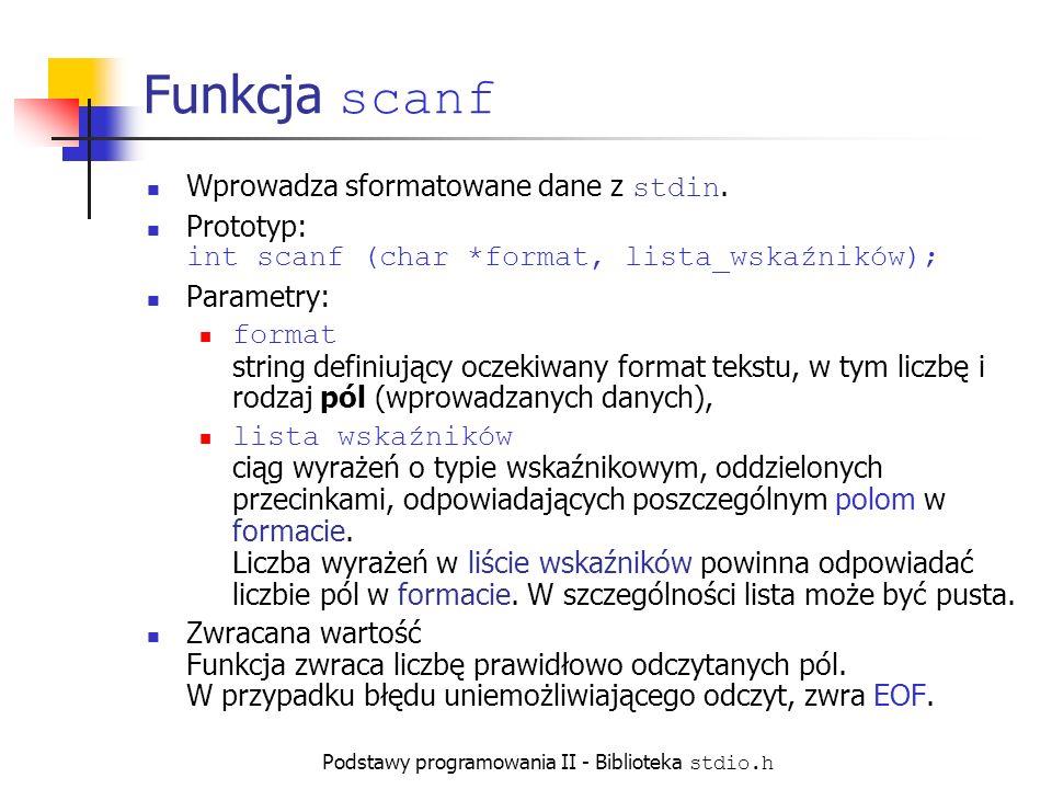 Podstawy programowania II - Biblioteka stdio.h Funkcja scanf Wprowadza sformatowane dane z stdin.