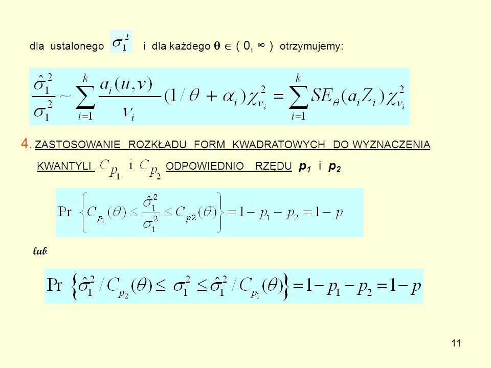 11 dla ustalonego i dla każdego ( 0, ) otrzymujemy: 4. ZASTOSOWANIE ROZKŁADU FORM KWADRATOWYCH DO WYZNACZENIA KWANTYLI ODPOWIEDNIO RZĘDU p 1 i p 2 lub