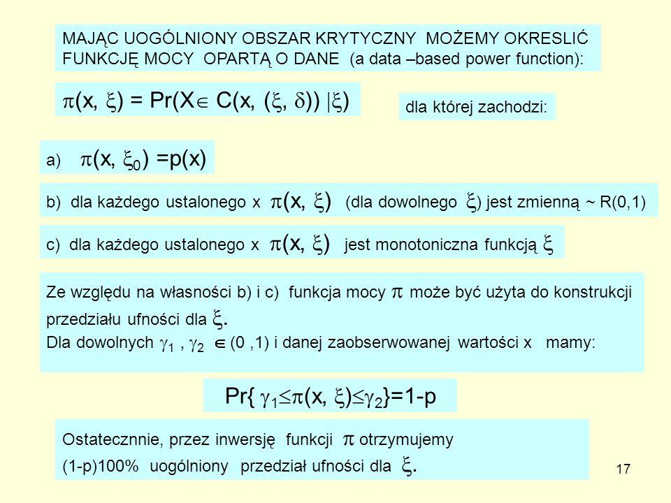 17 MAJĄC UOGÓLNIONY OBSZAR KRYTYCZNY MOŻEMY OKRESLIĆ FUNKCJĘ MOCY OPARTĄ O DANE (a data –based power function): (x, ) = Pr(X C(x, (, )) ) dla której z