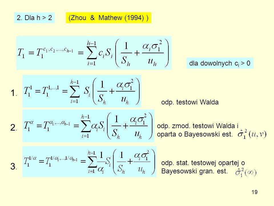 19 2. Dla h > 2 (Zhou & Mathew (1994) ) dla dowolnych c i > 0 odp. testowi Walda 1.1. odp. zmod. testowi Walda i oparta o Bayesowski est. 2.2. 3.3. od