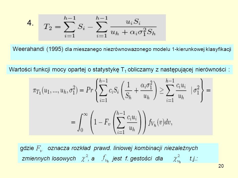 20 4. Weerahandi (1995) dla mieszanego niezrównowazonego modelu 1-kierunkowej klasyfikacji Wartości funkcji mocy opartej o statystykę T 1 obliczamy z