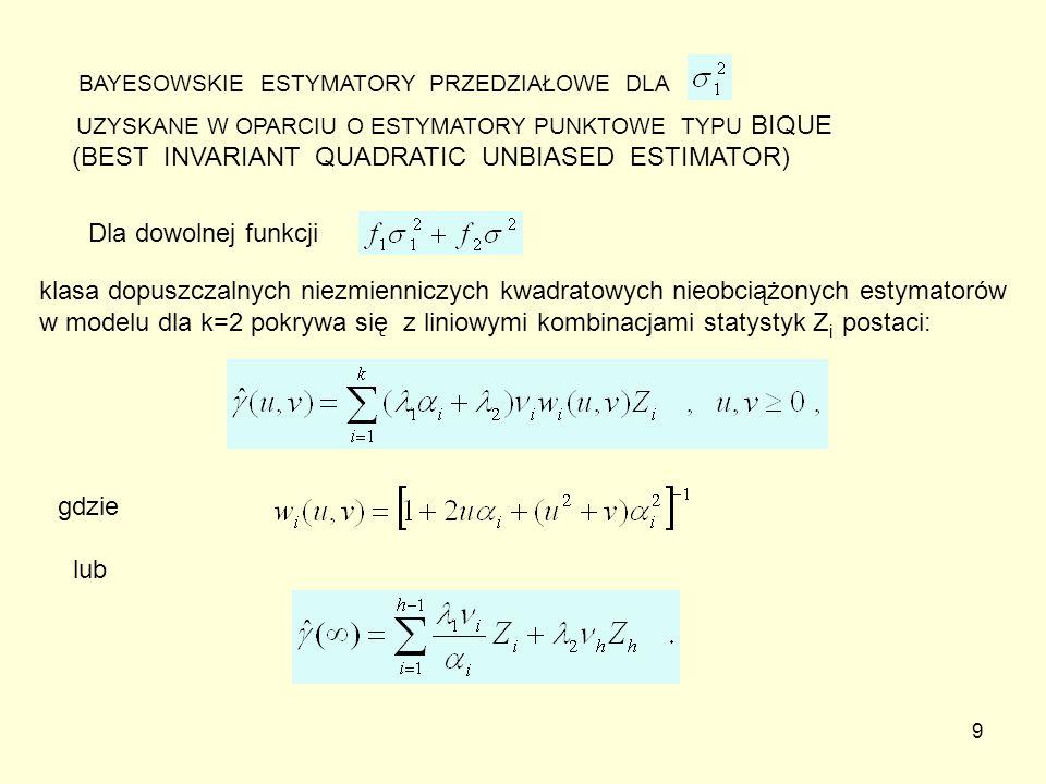 10 KONSTRUKCJA DOKŁADNYCH PRZEDZIAŁÓW UFNOŚCI DLA na poziomie ufności 1-p wg algorytmu A1-5 : 1.