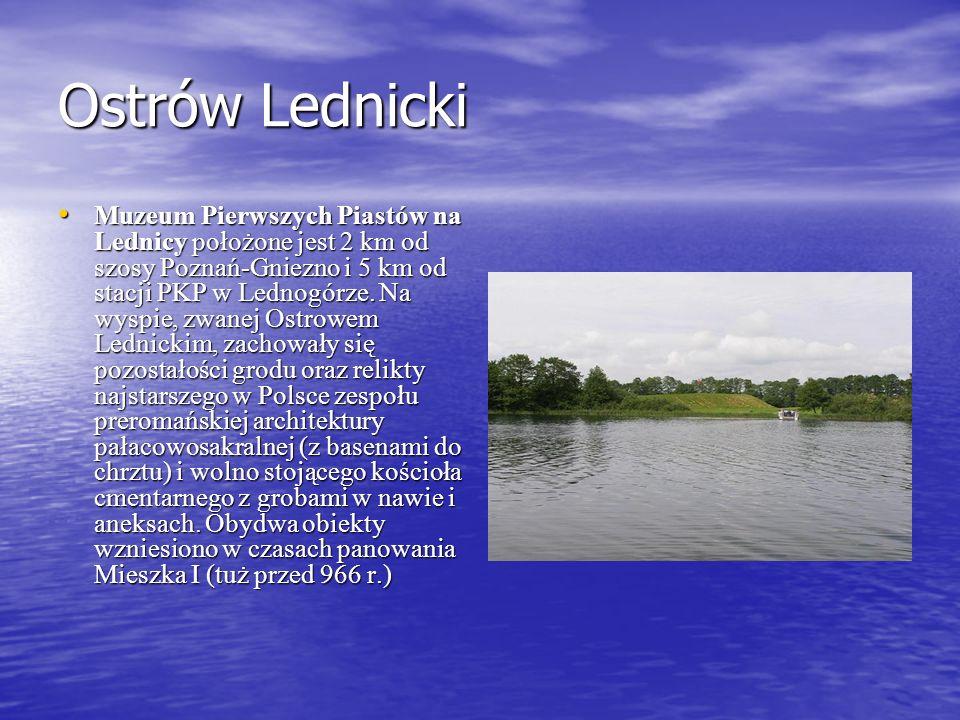 Ostrów Lednicki Muzeum Pierwszych Piastów na Lednicy położone jest 2 km od szosy Poznań-Gniezno i 5 km od stacji PKP w Lednogórze. Na wyspie, zwanej