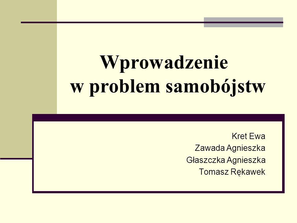 Wprowadzenie w problem samobójstw Kret Ewa Zawada Agnieszka Głaszczka Agnieszka Tomasz Rękawek