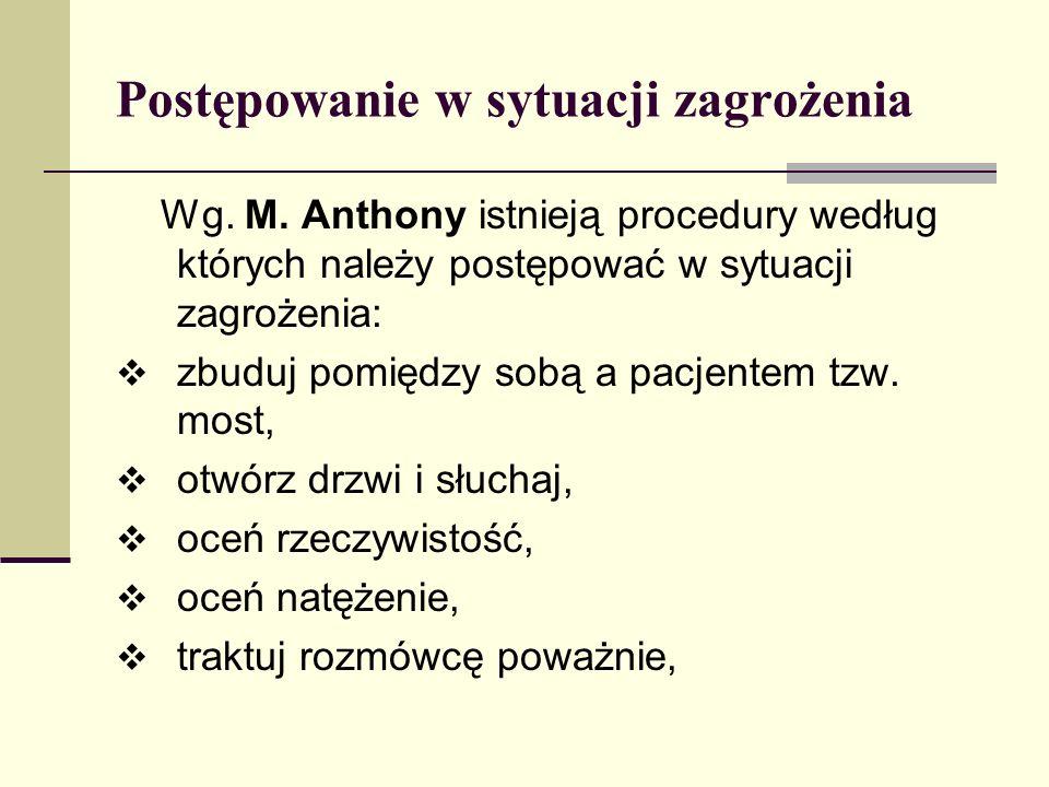 Postępowanie w sytuacji zagrożenia Wg. M. Anthony istnieją procedury według których należy postępować w sytuacji zagrożenia: zbuduj pomiędzy sobą a pa