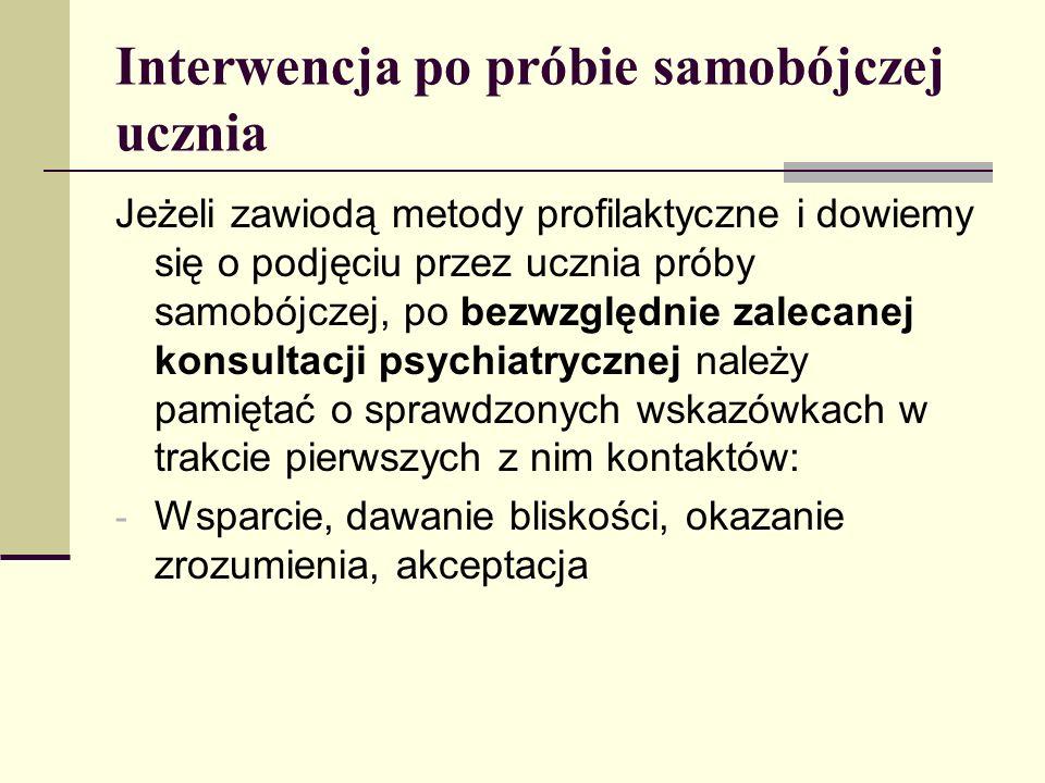 Interwencja po próbie samobójczej ucznia Jeżeli zawiodą metody profilaktyczne i dowiemy się o podjęciu przez ucznia próby samobójczej, po bezwzględnie