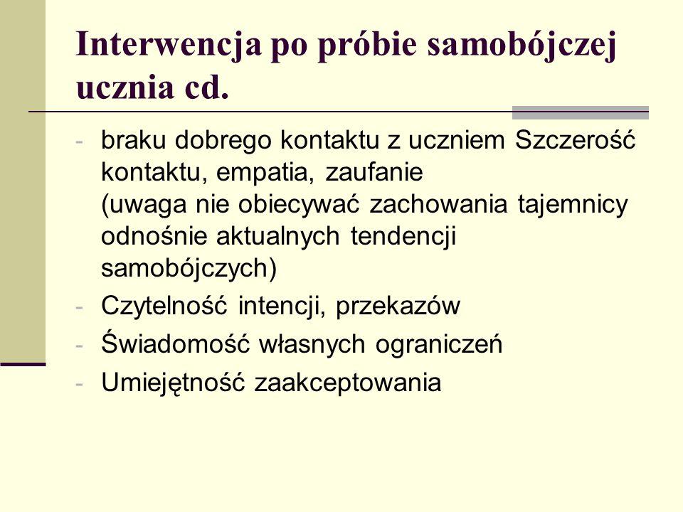 Interwencja po próbie samobójczej ucznia cd. - braku dobrego kontaktu z uczniem Szczerość kontaktu, empatia, zaufanie (uwaga nie obiecywać zachowania