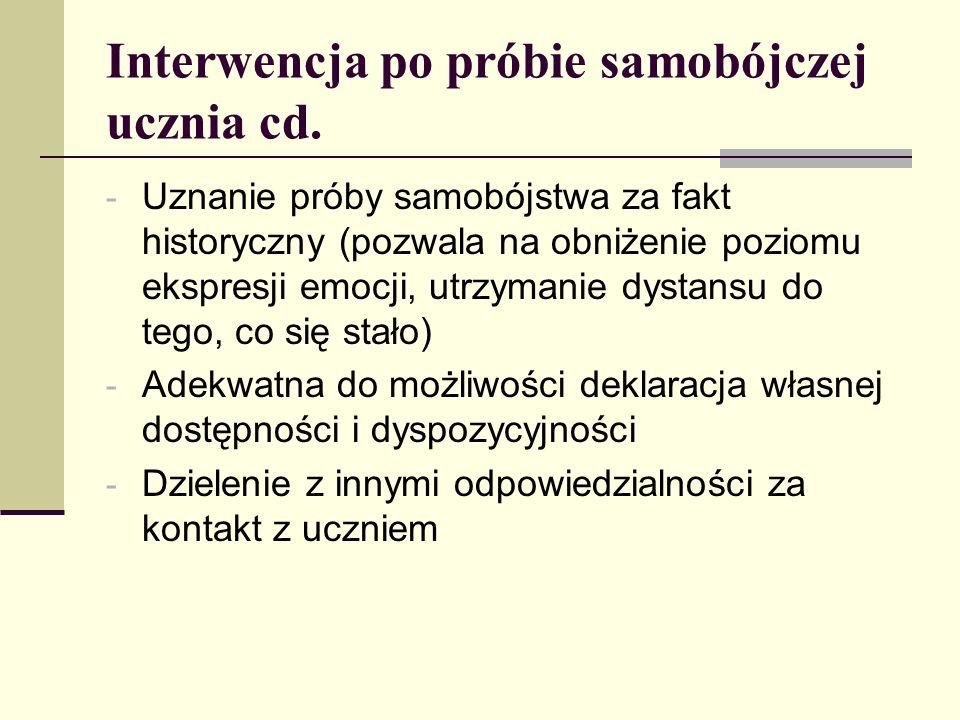 Interwencja po próbie samobójczej ucznia cd. - Uznanie próby samobójstwa za fakt historyczny (pozwala na obniżenie poziomu ekspresji emocji, utrzymani