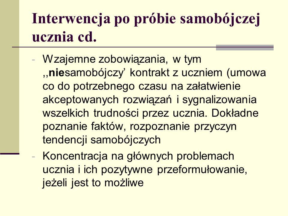 Interwencja po próbie samobójczej ucznia cd. - Wzajemne zobowiązania, w tym,,niesamobójczy kontrakt z uczniem (umowa co do potrzebnego czasu na załatw