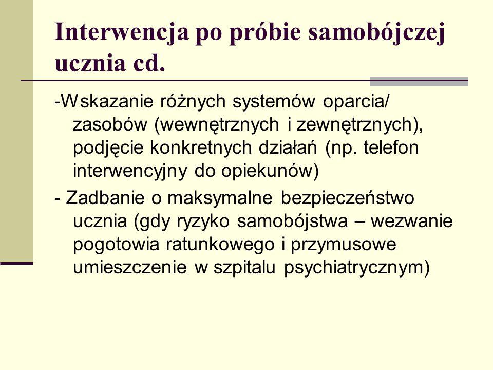 Interwencja po próbie samobójczej ucznia cd. -Wskazanie różnych systemów oparcia/ zasobów (wewnętrznych i zewnętrznych), podjęcie konkretnych działań