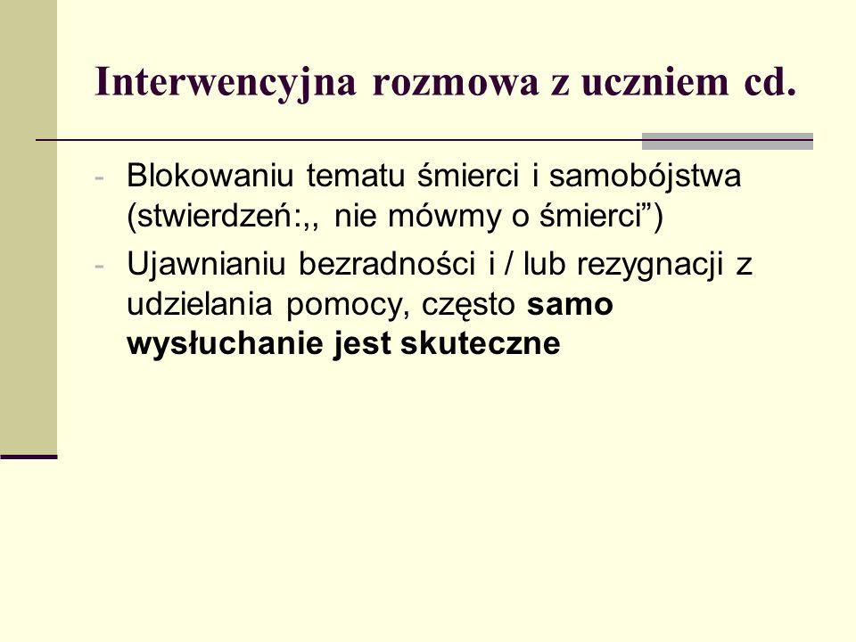 Interwencyjna rozmowa z uczniem cd. - Blokowaniu tematu śmierci i samobójstwa (stwierdzeń:,, nie mówmy o śmierci) - Ujawnianiu bezradności i / lub rez