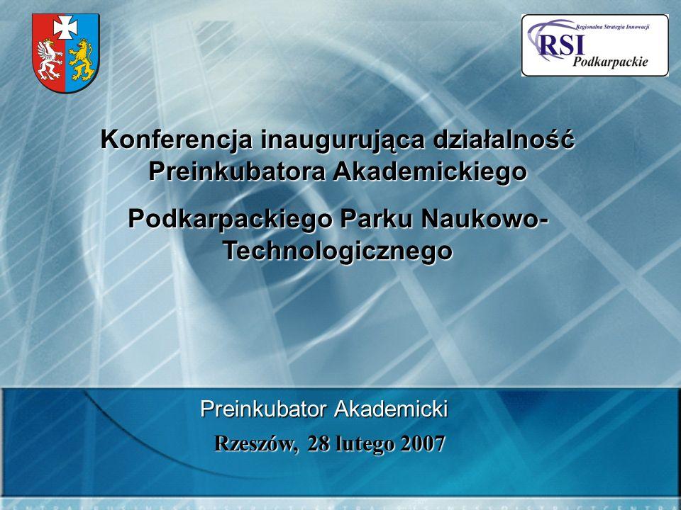 Konferencja inaugurująca działalność Preinkubatora Akademickiego Podkarpackiego Parku Naukowo- Technologicznego Rzeszów, 28 lutego 2007 Preinkubator Akademicki