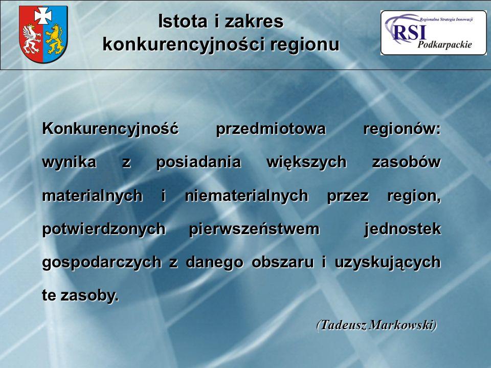 Konkurencyjność przedmiotowa regionów: wynika z posiadania większych zasobów materialnych i niematerialnych przez region, potwierdzonych pierwszeństwem jednostek gospodarczych z danego obszaru i uzyskujących te zasoby.