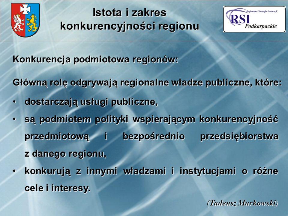 Konkurencja podmiotowa regionów: Główną rolę odgrywają regionalne władze publiczne, które: dostarczają usługi publiczne,dostarczają usługi publiczne, są podmiotem polityki wspierającym konkurencyjność przedmiotową i bezpośrednio przedsiębiorstwa z danego regionu,są podmiotem polityki wspierającym konkurencyjność przedmiotową i bezpośrednio przedsiębiorstwa z danego regionu, konkurują z innymi władzami i instytucjami o różne cele i interesy.konkurują z innymi władzami i instytucjami o różne cele i interesy.