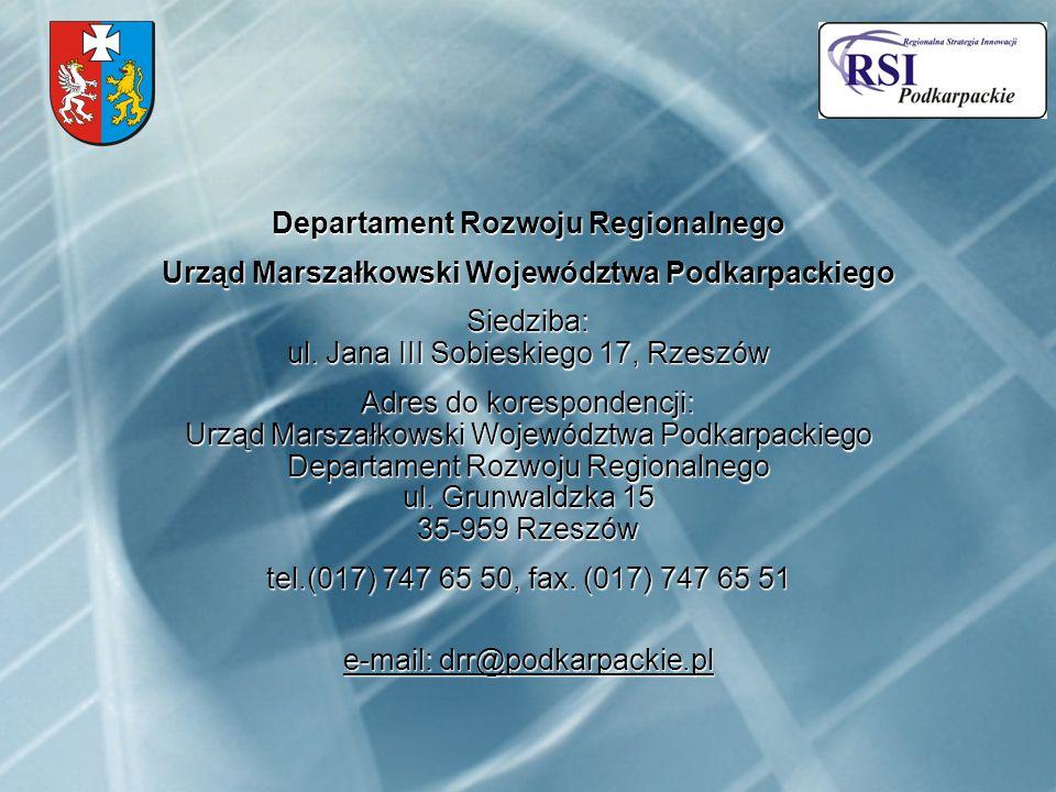 Departament Rozwoju Regionalnego Urząd Marszałkowski Województwa Podkarpackiego Siedziba: ul.