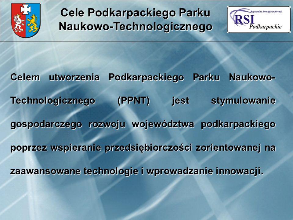 Celem utworzenia Podkarpackiego Parku Naukowo- Technologicznego (PPNT) jest stymulowanie gospodarczego rozwoju województwa podkarpackiego poprzez wspieranie przedsiębiorczości zorientowanej na zaawansowane technologie i wprowadzanie innowacji.