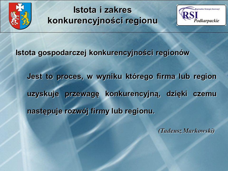 Istota gospodarczej konkurencyjności regionów Jest to proces, w wyniku którego firma lub region uzyskuje przewagę konkurencyjną, dzięki czemu następuje rozwój firmy lub regionu.