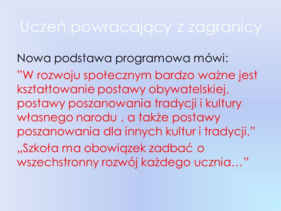 Uczeń powracający z zagranicy Nowa podstawa programowa mówi: W rozwoju społecznym bardzo ważne jest kształtowanie postawy obywatelskiej, postawy posza