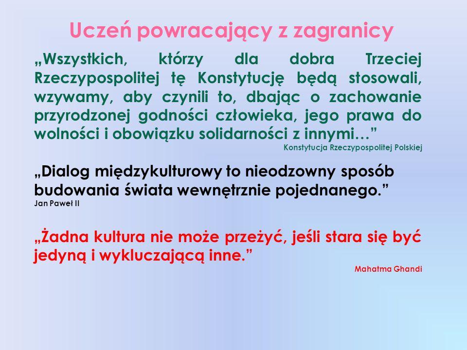Uczeń powracający z zagranicy Wszystkich, którzy dla dobra Trzeciej Rzeczypospolitej tę Konstytucję będą stosowali, wzywamy, aby czynili to, dbając o