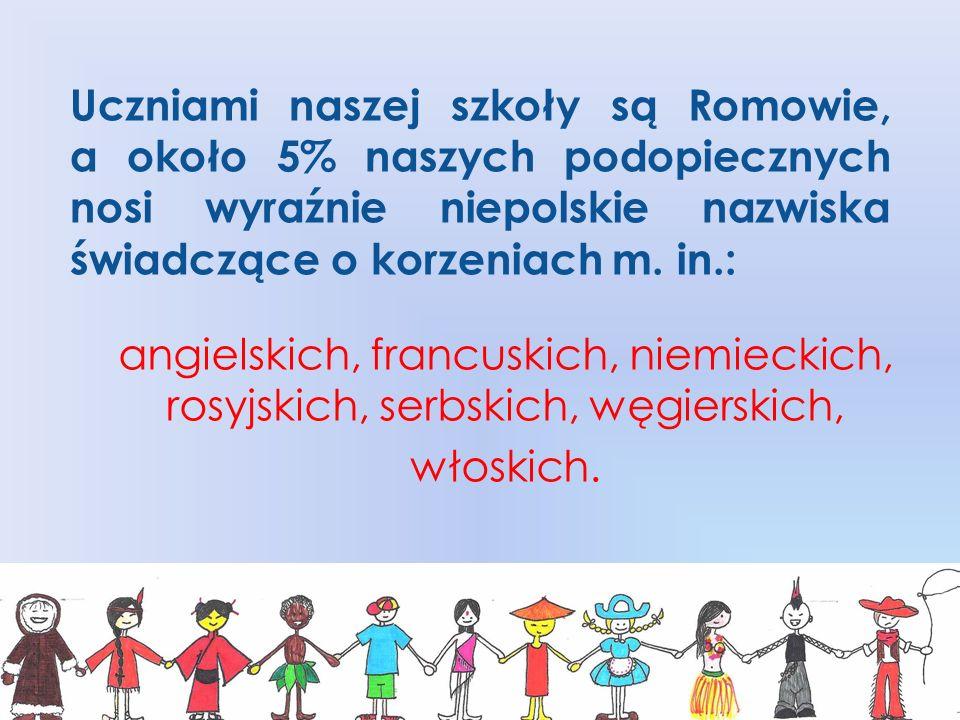 Uczniami naszej szkoły są Romowie, a około 5% naszych podopiecznych nosi wyraźnie niepolskie nazwiska świadczące o korzeniach m.