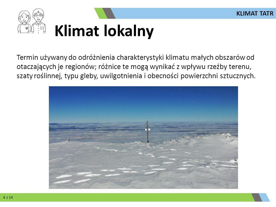 Klimat lokalny Termin używany do odróżnienia charakterystyki klimatu małych obszarów od otaczających je regionów; różnice te mogą wynikać z wpływu rze
