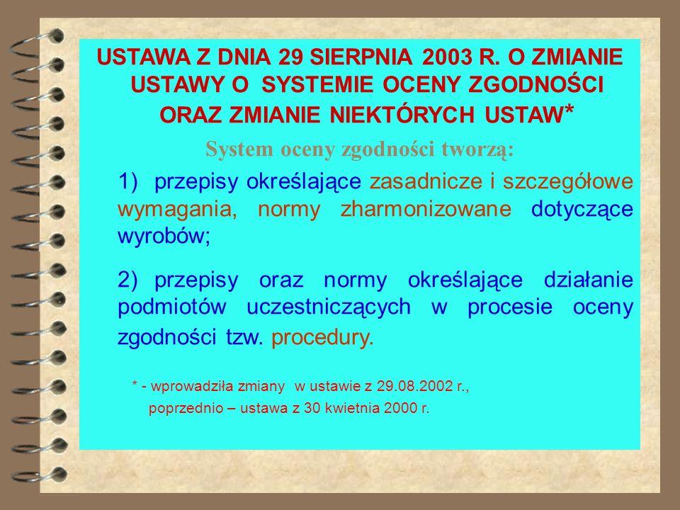 Ustawa z dnia 30.08.2002 r. o systemie oceny zgodności system oceny zgodności tworzą: 1) przepisy określające zasadnicze i szczegółowe wymagania oraz