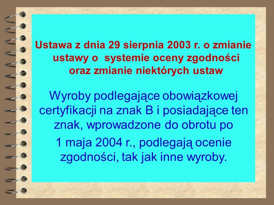 USTAWA Z DNIA 29 SIERPNIA 2003 R. O ZMIANIE USTAWY O SYSTEMIE OCENY ZGODNOŚCI ORAZ ZMIANIE NIEKTÓRYCH USTAW * System oceny zgodności tworzą: 1)przepis