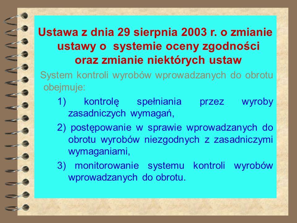 Ustawa z dnia 29 sierpnia 2003 r. o zmianie ustawy o systemie oceny zgodności oraz zmianie niektórych ustaw Wyroby podlegające obowiązkowej certyfikac