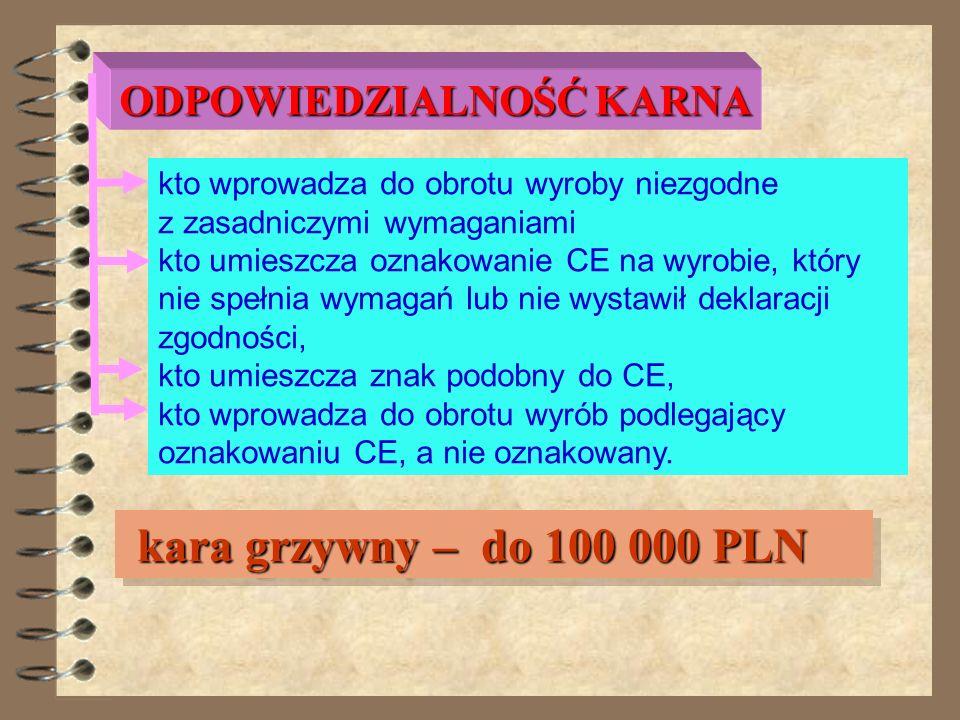 ODPOWIEDZIALNOŚĆ KARNA art. 45- 47 – dotyczy wytwórców wyrobów sankcje – do 100 000 PLN sankcje – do 100 000 PLN art. 45- 47 – dotyczy wytwórców wyrob