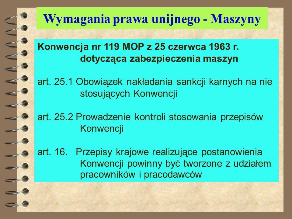 Wymagania prawa unijnego - Maszyny Konwencja nr 119 MOP z 25 czerwca 1963 r. dotycząca zabezpieczenia maszyn przyjęta przez Polskę i obowiązuje od 29