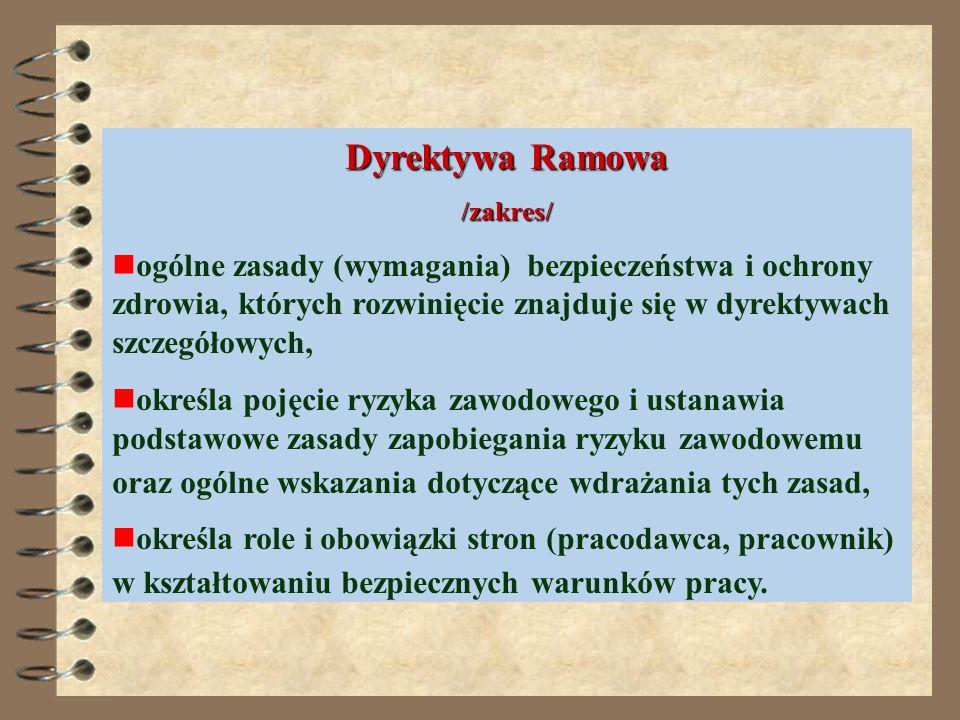 Dyrektywa 89/391/EWG w sprawie wprowadzenia środków sprzyjających poprawie bezpieczeństwa i higieny pracy tzw. Dyrektywa Ramowa