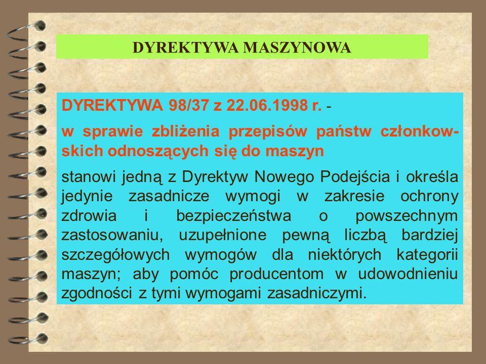 Dyrektywa maszynowa -chronologia powstawania WERSJA PIERWSZA: Dyrektywa 89/392 EWG o zbliżaniu ustawodawstw państw członkowskich odnoszących się do ma