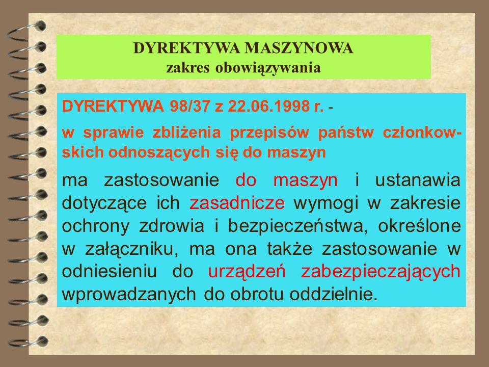 DYREKTYWA MASZYNOWA DYREKTYWA 98/37 z 22.06.1998 r. - w sprawie zbliżenia przepisów państw członkow- skich odnoszących się do maszyn stanowi jedną z D