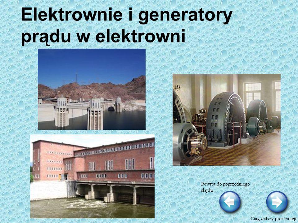 Elektrownie i generatory prądu w elektrowni Powrót do poprzedniego slajdu Ciąg dalszy prezentacji