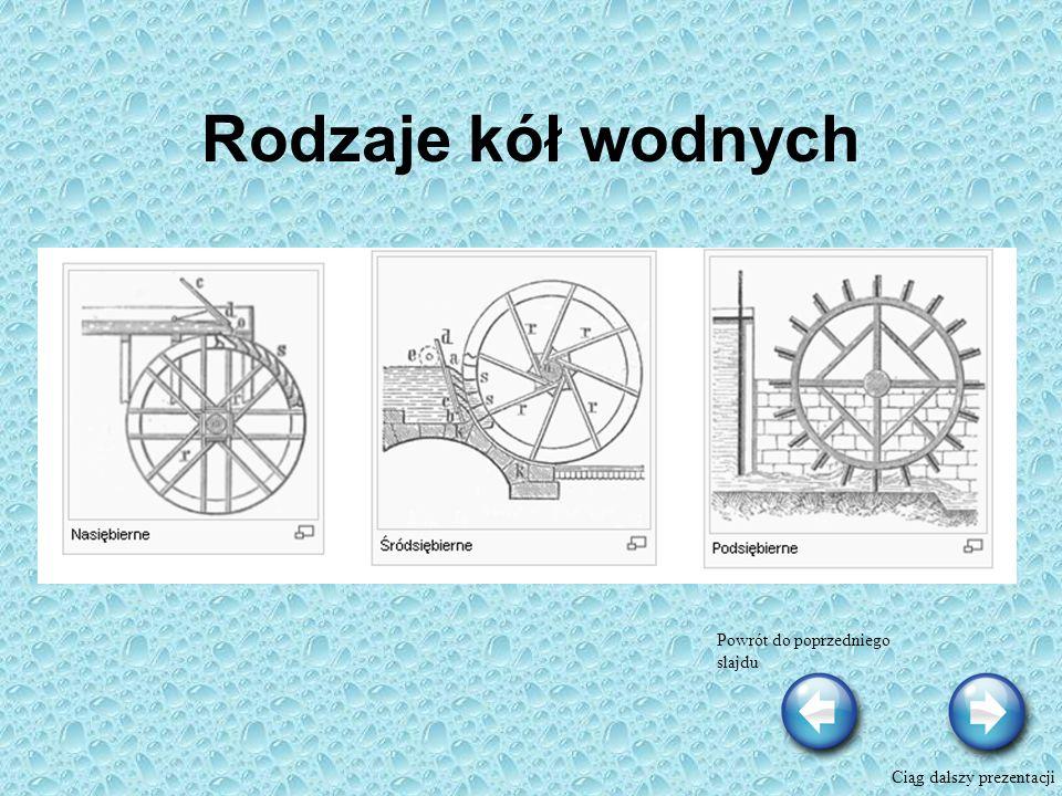 Rodzaje kół wodnych Powrót do poprzedniego slajdu Ciąg dalszy prezentacji