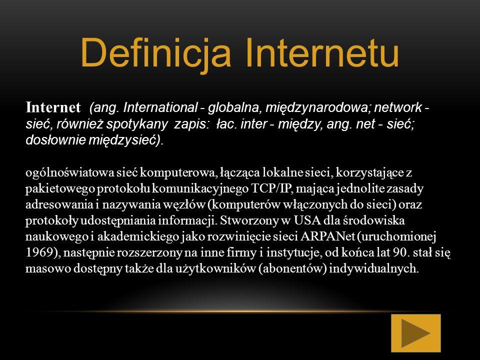 Internet (ang. International - globalna, międzynarodowa; network - sieć, również spotykany zapis: łac. inter - między, ang. net - sieć; dosłownie międ