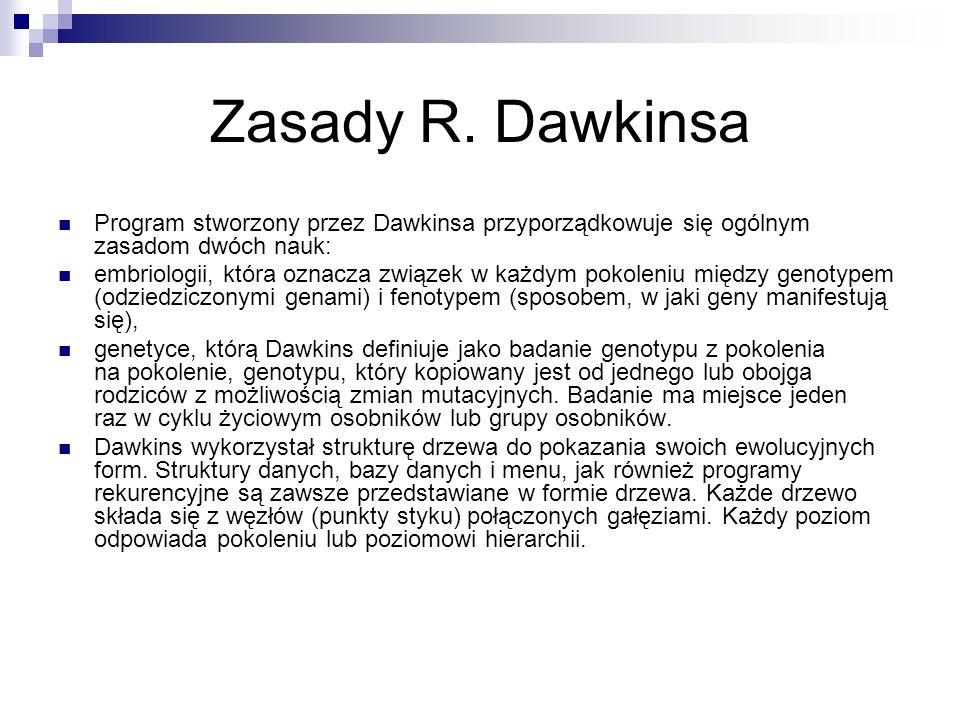 Zasady R. Dawkinsa Program stworzony przez Dawkinsa przyporządkowuje się ogólnym zasadom dwóch nauk: embriologii, która oznacza związek w każdym pokol