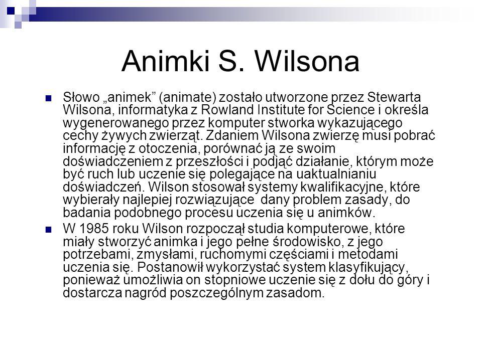 Animki S. Wilsona Słowo animek (animate) zostało utworzone przez Stewarta Wilsona, informatyka z Rowland Institute for Science i określa wygenerowaneg