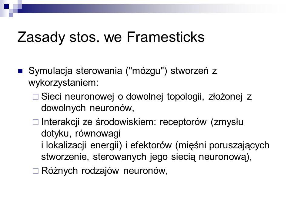 Zasady stos. we Framesticks Symulacja sterowania (