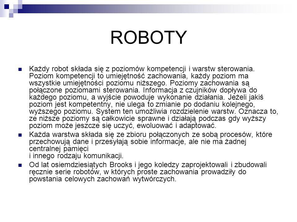 ROBOTY Każdy robot składa się z poziomów kompetencji i warstw sterowania. Poziom kompetencji to umiejętność zachowania, każdy poziom ma wszystkie umie