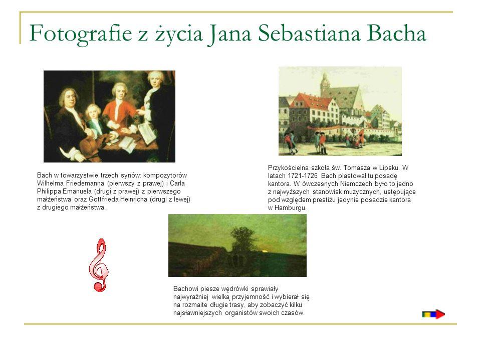 Fotografie z życia Jana Sebastiana Bacha Bach w towarzystwie trzech synów: kompozytorów Wilhelma Friedemanna (pierwszy z prawej) i Carla Philippa Eman